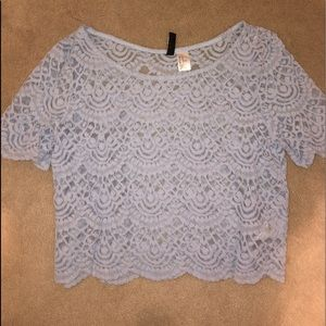 Lace crop baby blue short sleeve top